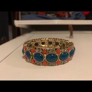 J. Crew Bracelet Stretch Blue Center Stone